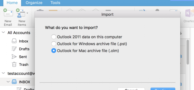 import OLM file into Outlook