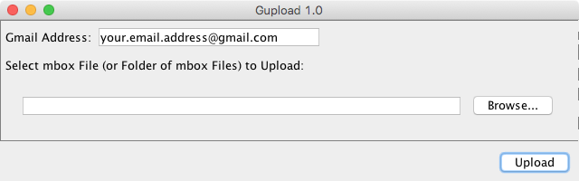 upload email into your gmail account with gupload
